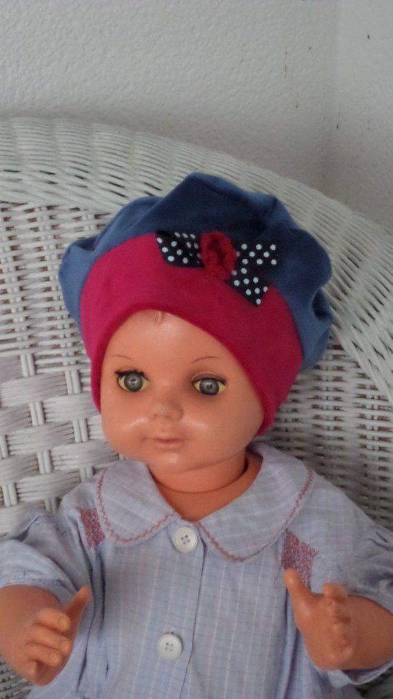 bonnet béret chapeau  bébé  fille  lin eva kids  velours  bleu et  rouge collection automne hiver création lineva cadeau bébé fille 20c85834943