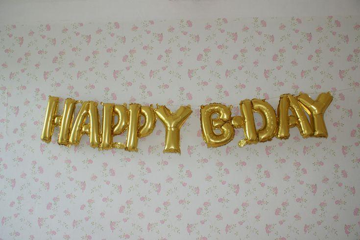 """Dekoration - Folienluftballon Happy B-day """"Silber"""" - ein Designerstück von cremebrulee_blue bei DaWanda"""