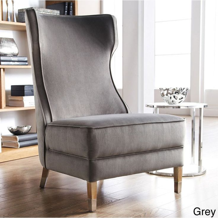 The sophisticated frances chair features a contoured high - High back wing chairs for living room ...