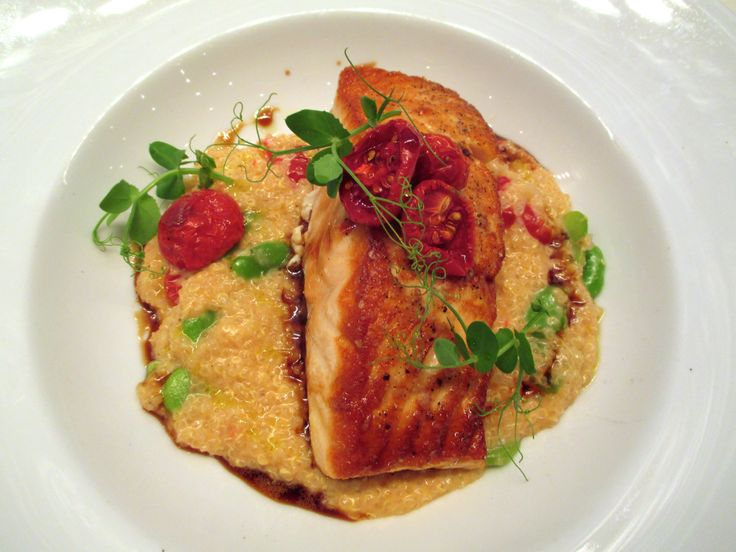 Sneak peek at some of our new menu items- coming soon! Scottish Salmon - creamy quinoa, fava beans, oven dried tomatoes & sherry reduction