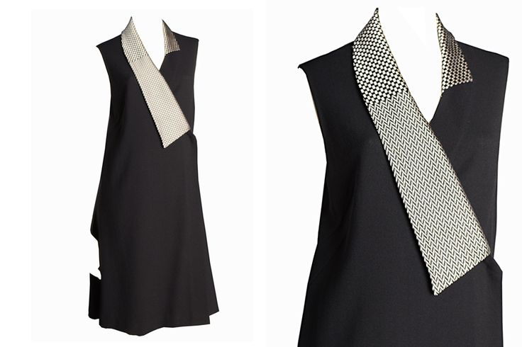 C.42 Crepe wool dress with textured silk neck.