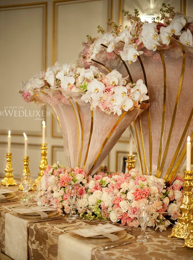 wedding centerpieces fake flowers%0A Gorgeous gold trumpet centerpieces for wedding recepetion