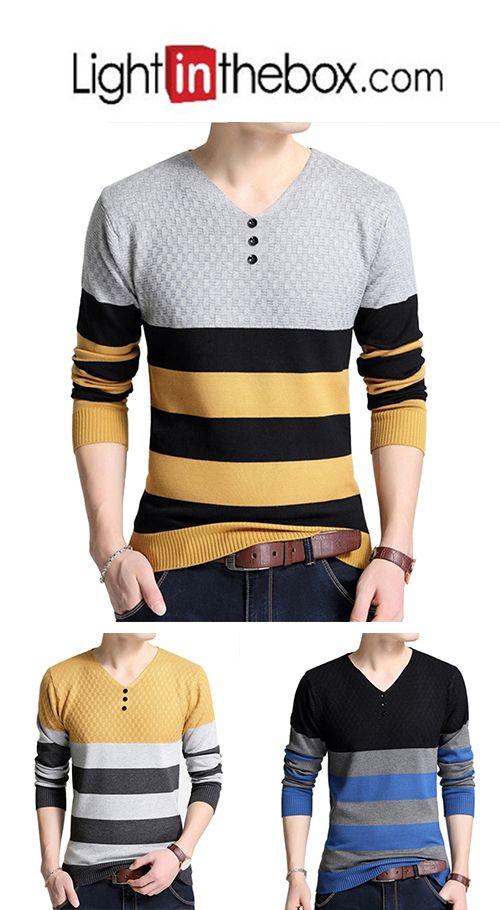 6f1624a967 26.09] Men's Daily / Work Striped Long Sleeve Regular Pullover, V ...