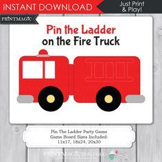 Pin the Ladder on the Fire Truck Printable Party Game - Fireman Birthday Party, Firetruck Birthday Party, Firetruck Party Game, Pin the Tail by printmagic on Etsy https://www.etsy.com/listing/168591783/pin-the-ladder-on-the-fire-truck