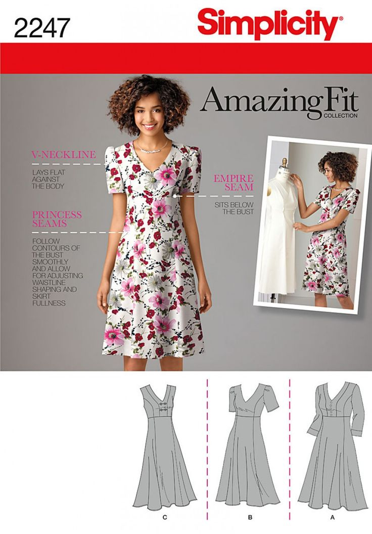 Simplicity 2247 Misses' & Plus Size Amazing Fit Dress Sewing Pattern                                                                                                                                                                                 More