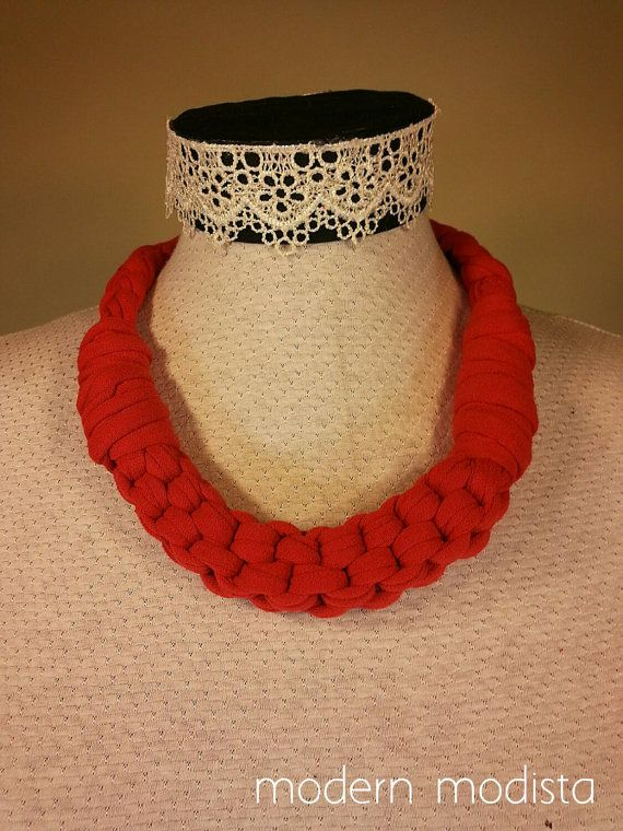 Check out this item in my Etsy shop https://www.etsy.com/ca/listing/242036916/recycled-fabric-statement-necklace