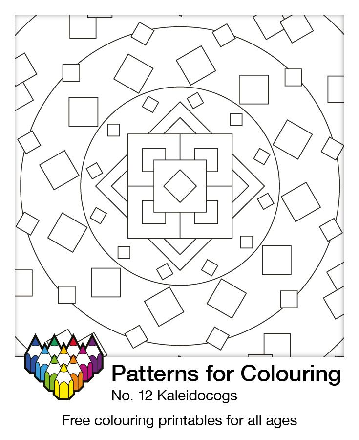 Colouring page number 11: Kaleidocogs. All our patterns are free and for all ages. Download, printout, colour in and decorate your fridge