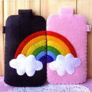 New Rainbow Phone Case Set Handmade DIY Fabric Sew by CuteCheckout, $33.95