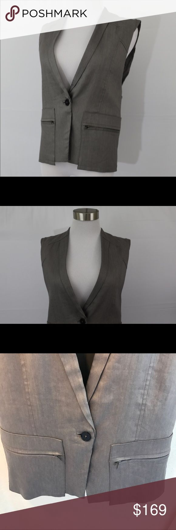 """(NWT) Helmut Lang Linen Blend Vest Helmut Lang Linen Blend Vest   Retail Price: $398 Size: XS   Brand new, no holes, stains or snags, tags still attached. Runs large. Super chic linen blend vest. One button closure wth zipper detailing at pockets. Fully lined. Wear with a white tank and skinny jeans or apencil skirt, Size P=XS or Small. Made of 66% linen,32% viscose, 2% elastane. Lined with 94% polyester, 6% polyurethane. Measurements: Shoulder to shoulder: 14"""" , Underarm to underarm: 18.5""""…"""
