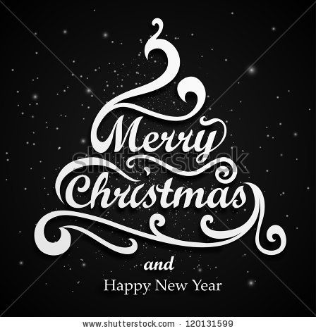Christmas Black Card Design. Type, And Floral Decoration ...