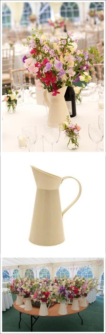 For Hire: Cream Enamel Milk Jugs for your wedding. South of England. £3 each. www.rosetintmywedding.co.uk #weddinghire #milkjug