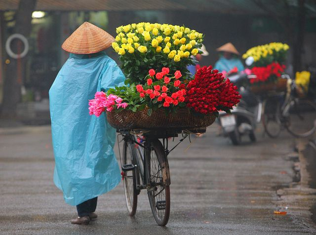 It is easy to catch this stress vendor selling flowers in Vietnam.