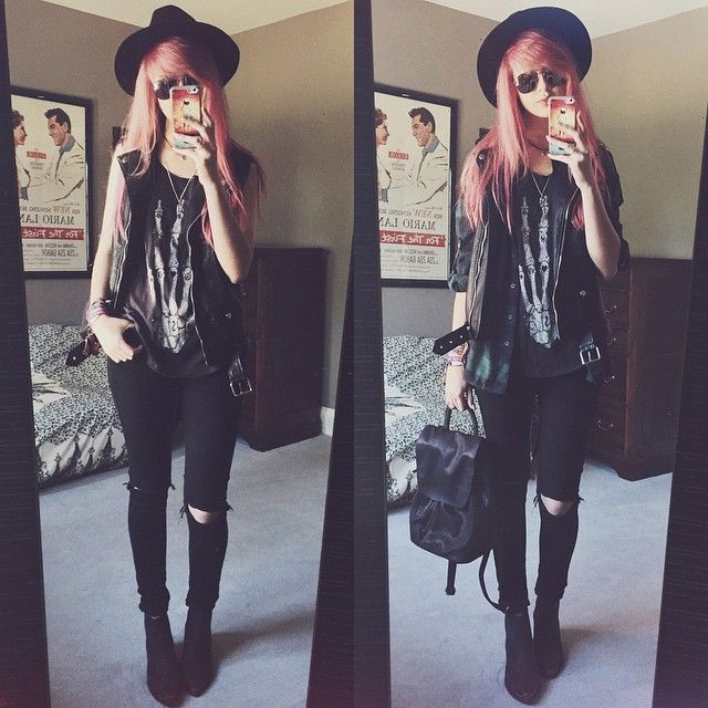 Cool outfit with a hat, tee, jeans and leather vest/jacket.