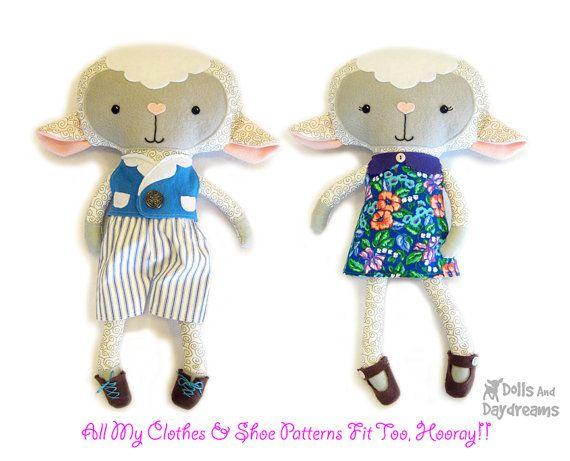 Lamb PDF Sewing Pattern Stuffed Toy Animal by DollsAndDaydreams,