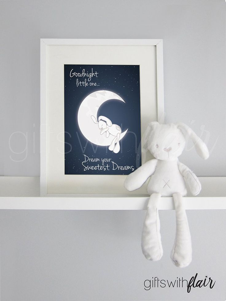 Gifts with Flair Decor Print and Plush Set | Bunny | Dream your Sweetest Dreams | Moon Stars Sleeping Dreaming Bunny | Australian-Owned Business
