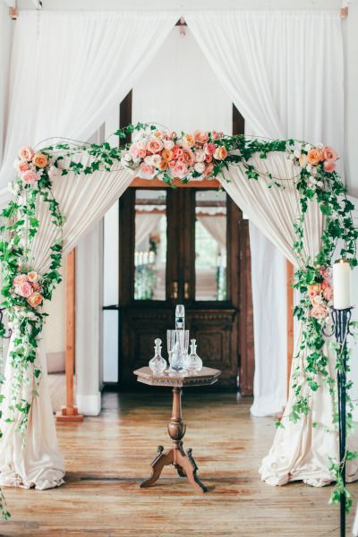 Romantic, indoor arbor, perfect for a wedding ceremony, very elegant