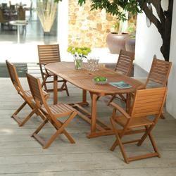 Salon de jardin bois Remmington 1 table 190 230cm et 4 chaises et 2 fauteuils