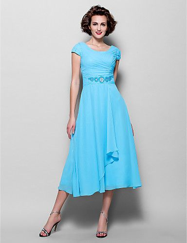 A-line Plus Sizes / Petite Mother of the Bride Dress - Pool Tea-length Short Sleeve Chiffon 2016 – $99.99