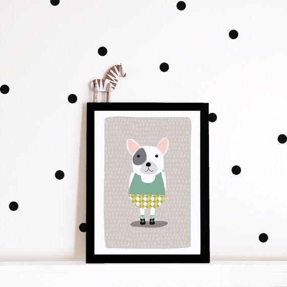 Kwekerij muur kunst kwekerij poster, kinderen kamer art print, kwekerij art print, kids poster, kinderdagverblijf inrichting, hond