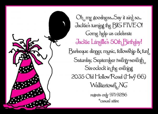 50th Birthday Party Ideas Invitation For 50th Birthday