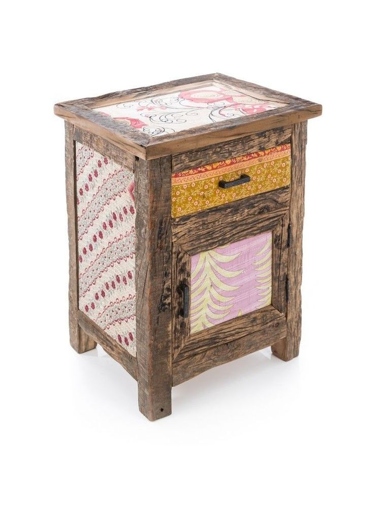 Almirah Side Table w Glass - 65x50x40cm - Recycled Wood/Fabric