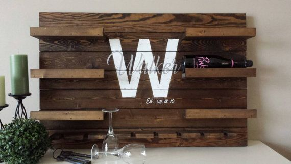 Personalized reclaimed wood wine rack - Family name established sign - Pallet…