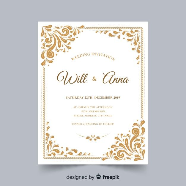 Ornamental Wedding Card Template Free Vector Free Vector Freepik Vector Freef Wedding Cards Elegant Wedding Invitation Card Wedding Invitation Card Design