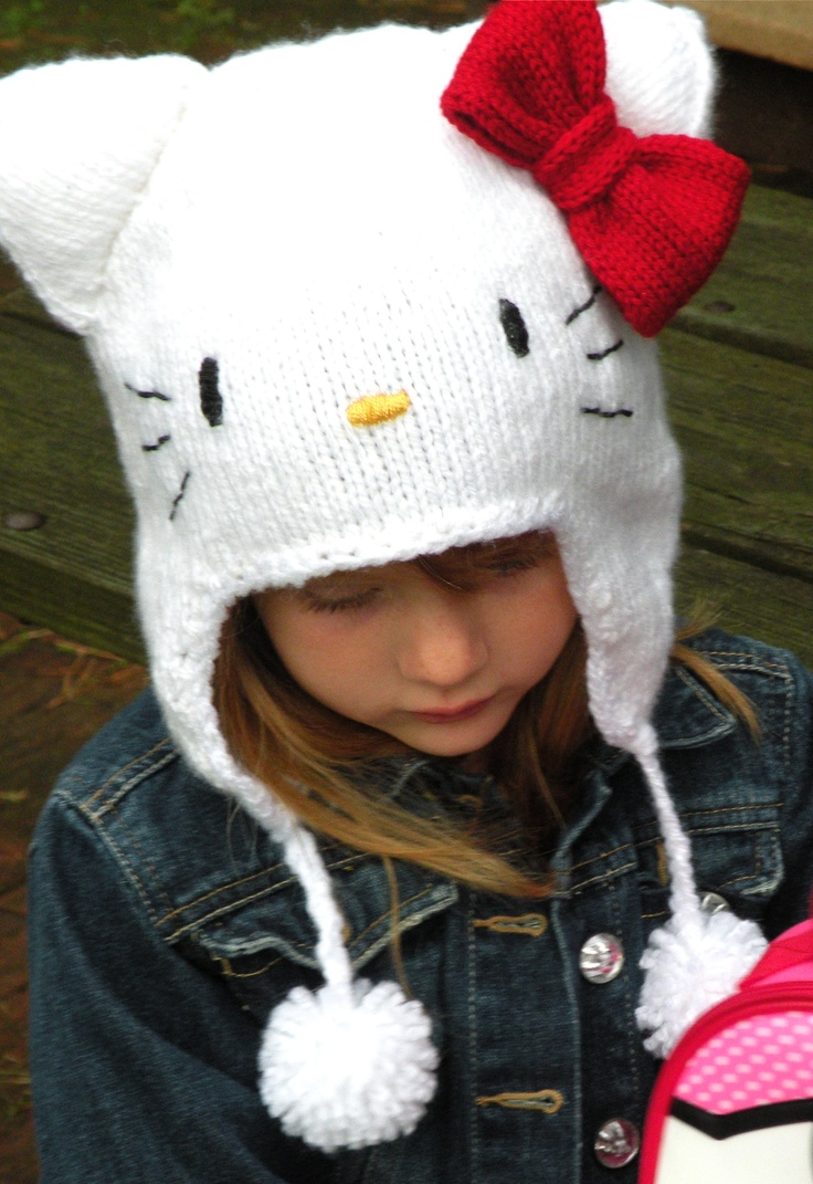 Knitting Pattern Hello Kitty : 17 Best images about hello kitty hat knit on Pinterest Shops, Fashion illus...