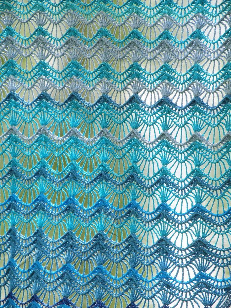"""Oceania"" (crochet shawl, lace wrap, crochet lace, crochet cotton shawl)"