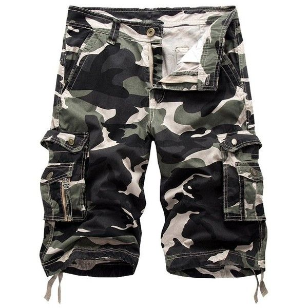 Camo Cargo Shorts with Flap Pockets (48 BAM) ❤ liked on Polyvore featuring men's fashion, men's clothing, men's shorts, camouflage mens shorts, mens camo cargo shorts, mens camo shorts, mens cargo shorts and mens camouflage cargo shorts