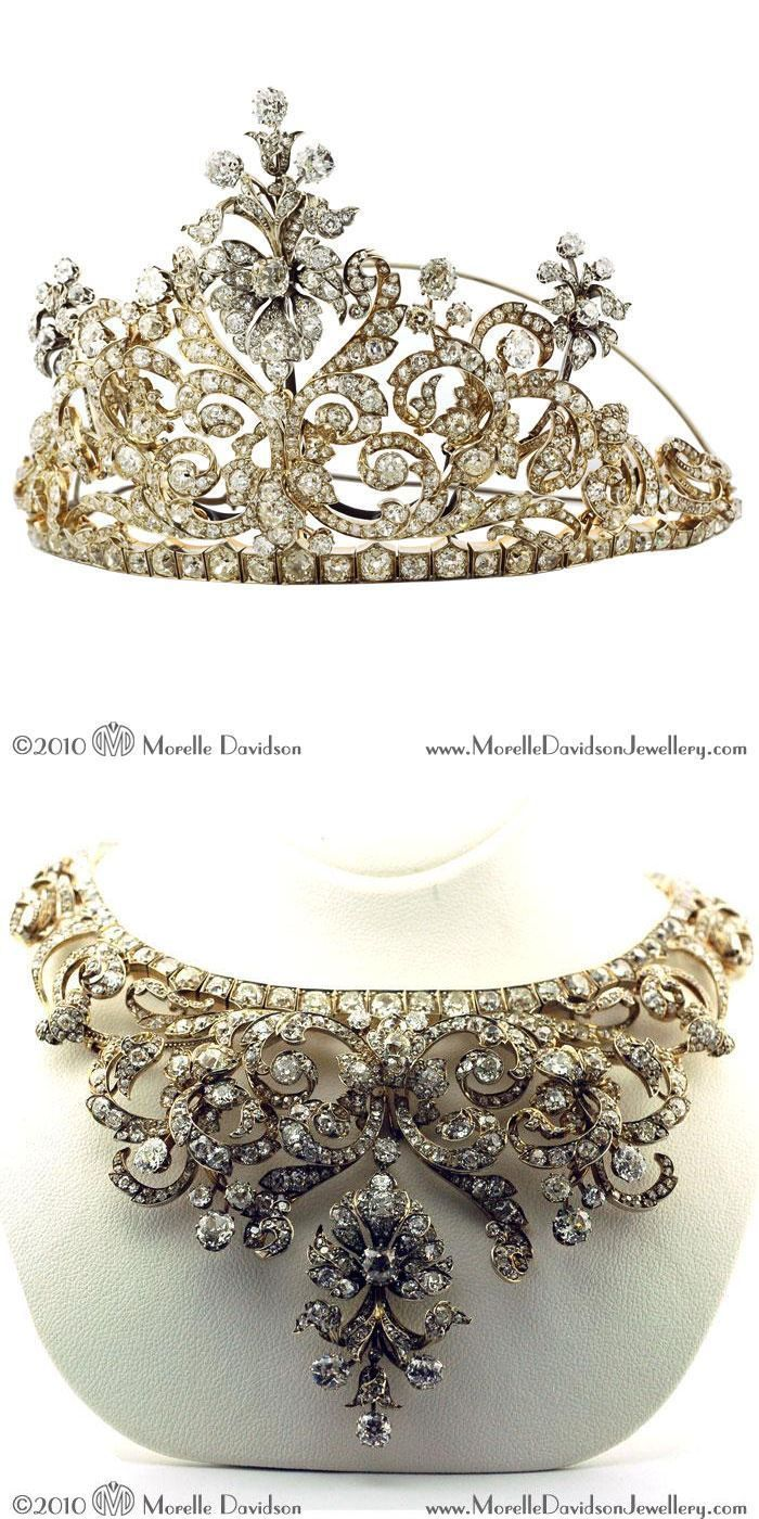 Convertible tiara/necklace. Antique silver and gold tiara with old-cut diamonds in a scroll and stylized flower design. Can be worn as a necklace with two additional elements in gold and silver....