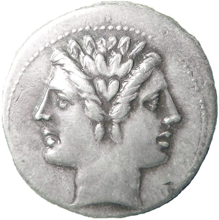 Janus on Roman coin god of paths and desicions
