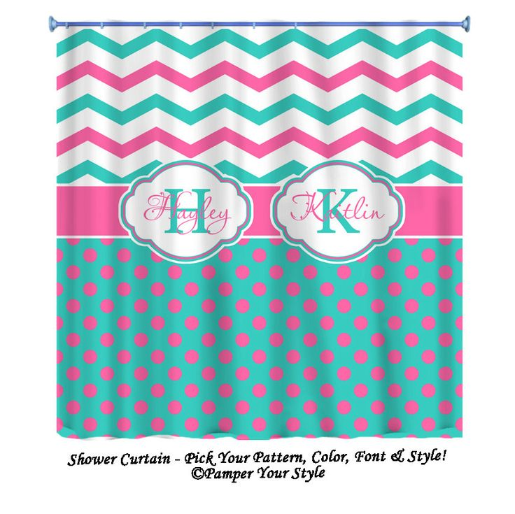 Chevron and Polka Dot Custom Shower Curtain  by PAMPERYOURSTYLE, $76.00
