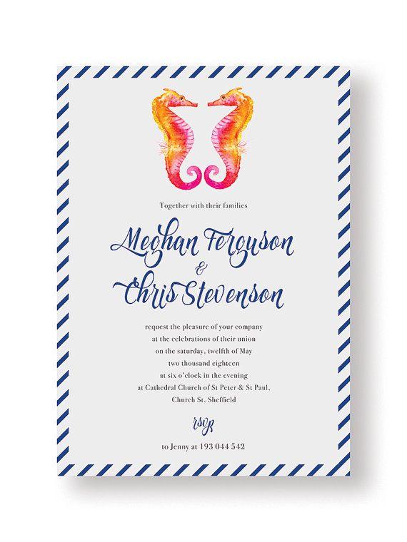 Blue Navy Nautical Seahorse Wedding Invitation by PaperCharmStore