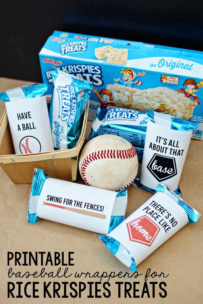 Printable Baseball Wrappers for Rice Krispies Treats. Fun snack for after the game or party favor at a baseball themed birthday party!