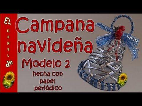 Campana navideña modelo 2 hecha con papel periódico - Christmas Bell Mod...