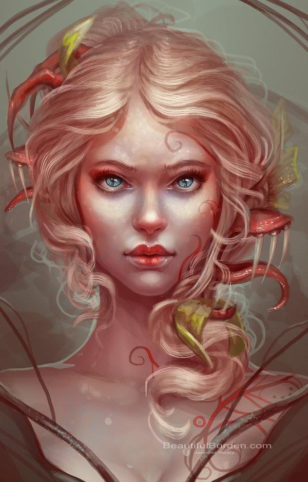 Jennifer Healy. #art #illustration #digital #painting #pink #hair #beauty #fantasy