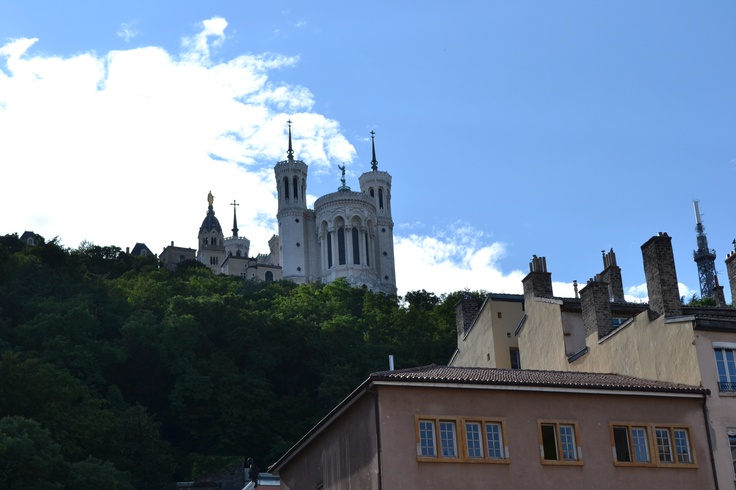 View from Cathédrale St. Jean to the Basilica of Notre-Dame de Fourvière