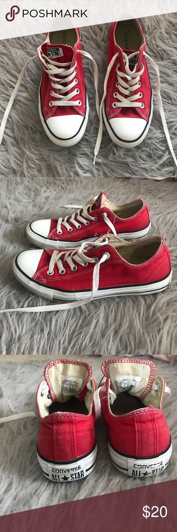 Red Converse Shoes Red Converse-gently used-$20 OBO Converse Shoes Sneakers