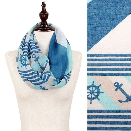 Nantucket Striped Infinity Anchor Scarf
