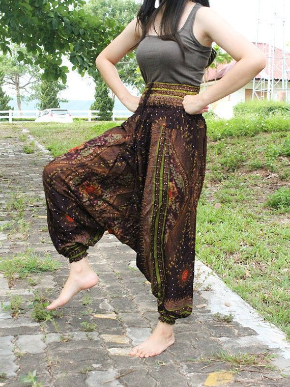 hippie clothes/elephant thai pants/bohemian by Enoughning on Etsy