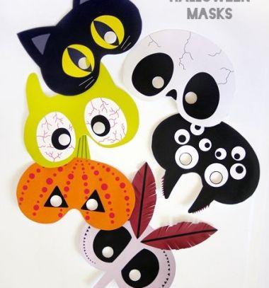 Free Halloween printable masks // Nyomtatható Halloween papírmaszkok többféle mintával //  Mindy -  creative craft ideas //  #halloween #crafts #craftideas #kreatívötletek #diy #csináldmagad #halloweencrafts #halloweenparty #partyideas