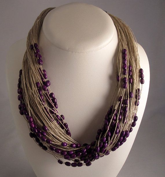Necklace purple linen thread green red purple wood beads knots chocolate metal closure mediterranean style handmade