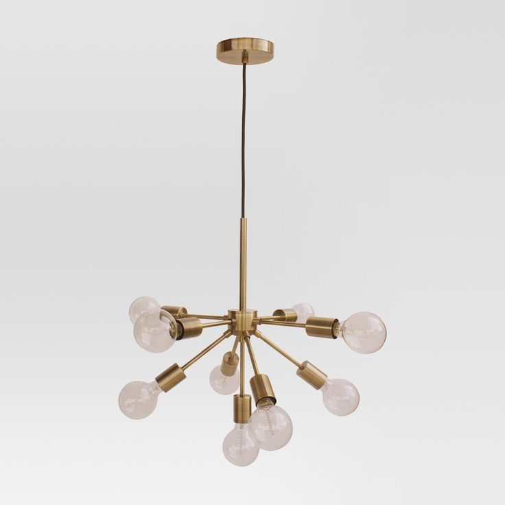 Attractive Modern Radial Glass Globe Ceiling Light   Brass   Project 62