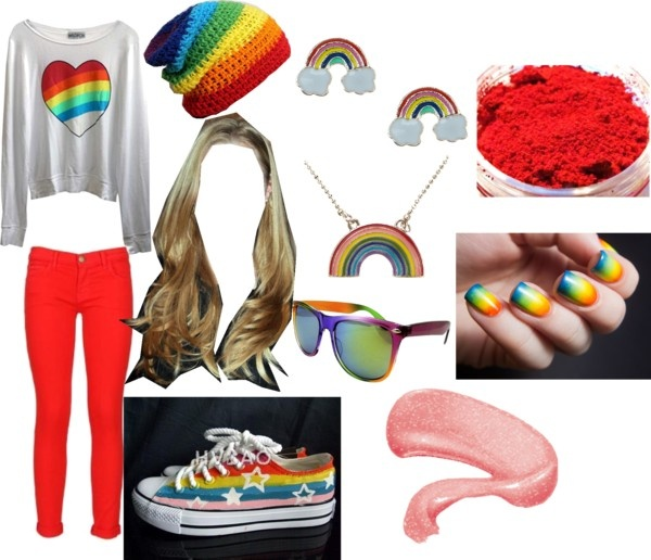 U0026quot;Rainbow Outfitu0026quot; by thaliagarcia liked on Polyvore | Polyvore | Pinterest | Outfit sets Outfit ...