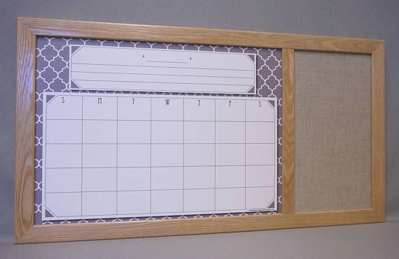 Organize your activities with our Gray Moroccan Tile Calendar White Board with Burlap Fabric Pin Board!