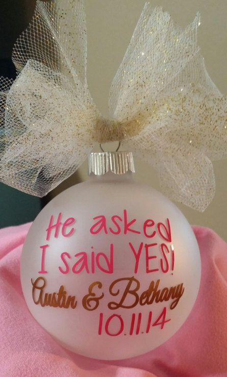 Personalized Engagement Ornament He Asked by SvnHeartsVinylCrafts