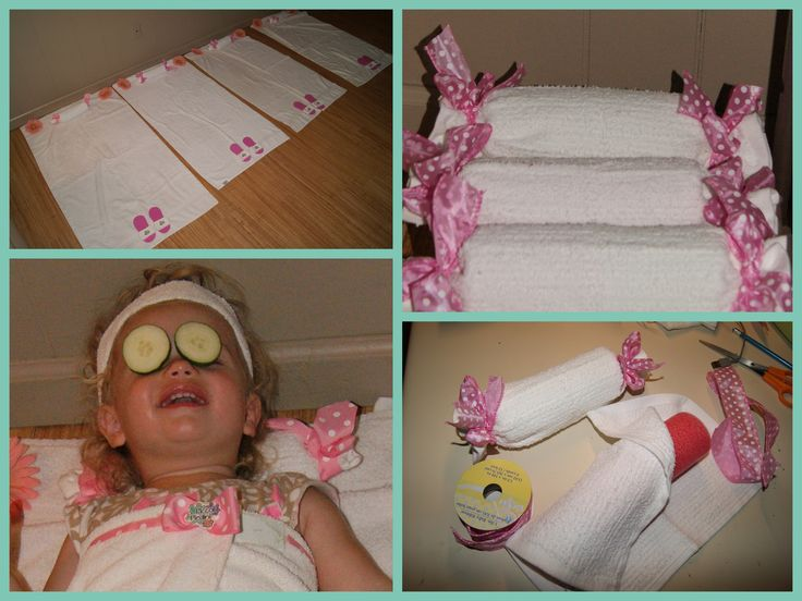 Spa neck pillows..... I cut a section of a 'water noodle' , wrapped in a wash rag and tied with ribbon! toddlertimetips.com