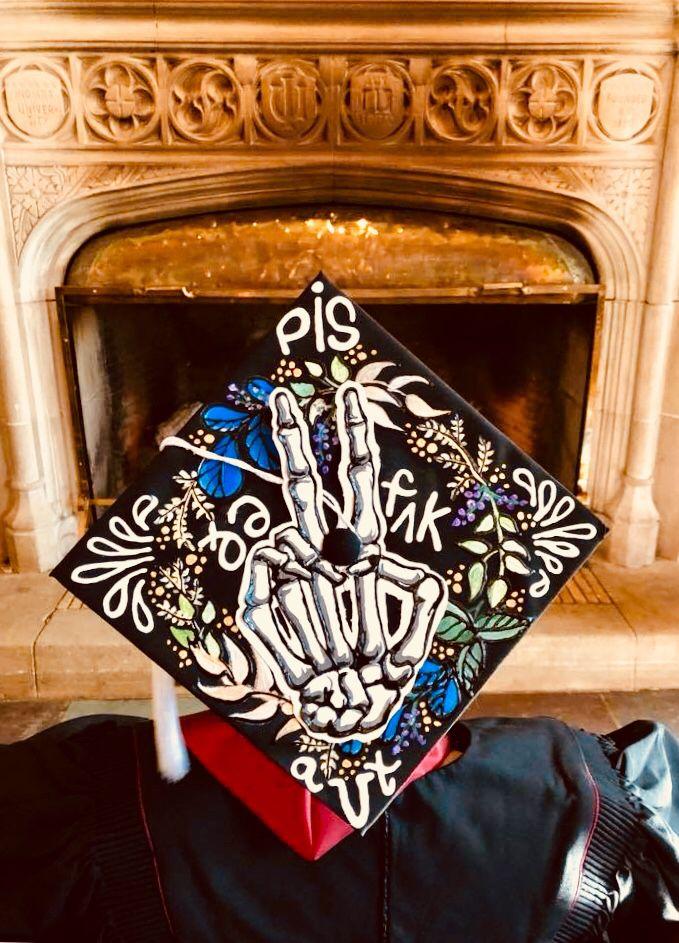 Peace the F Out Skeleton Cap - Made by Eleanor Ahlberg (EJArt CO) Peace Sign Graduation Cap #graduation #cap #skeleton