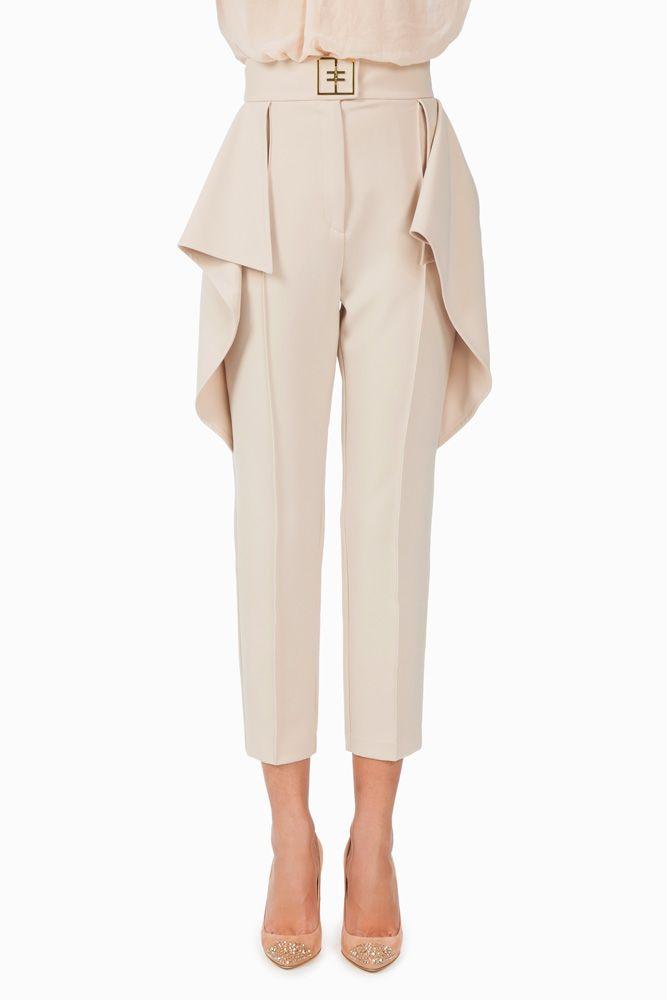 Pantalone con maxi ruches - Pantaloni su Digital Store ELISABETTA FRANCHI - la Boutique online ufficiale